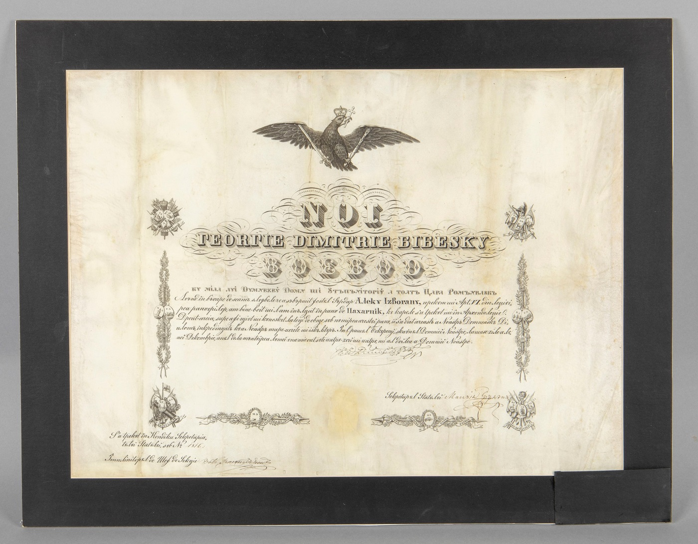Diplomă de înălțare în rangul de paharnic a lui Alecu Izvoranu, 1844