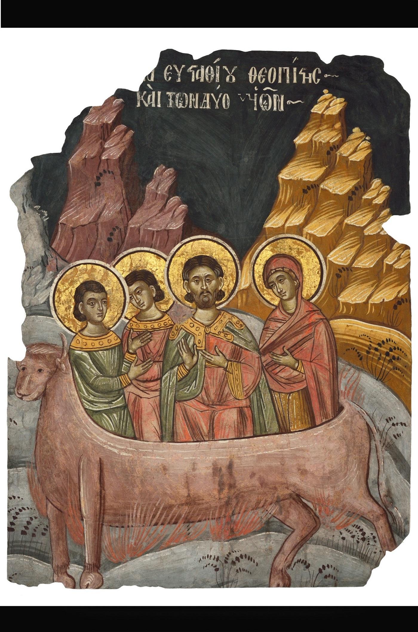 """""""Fragment pictură murală - Supliciul Sfântului Eustație"""",Fragment de pictură murală extras de la biserica Trei Ierarhi din Iași"""