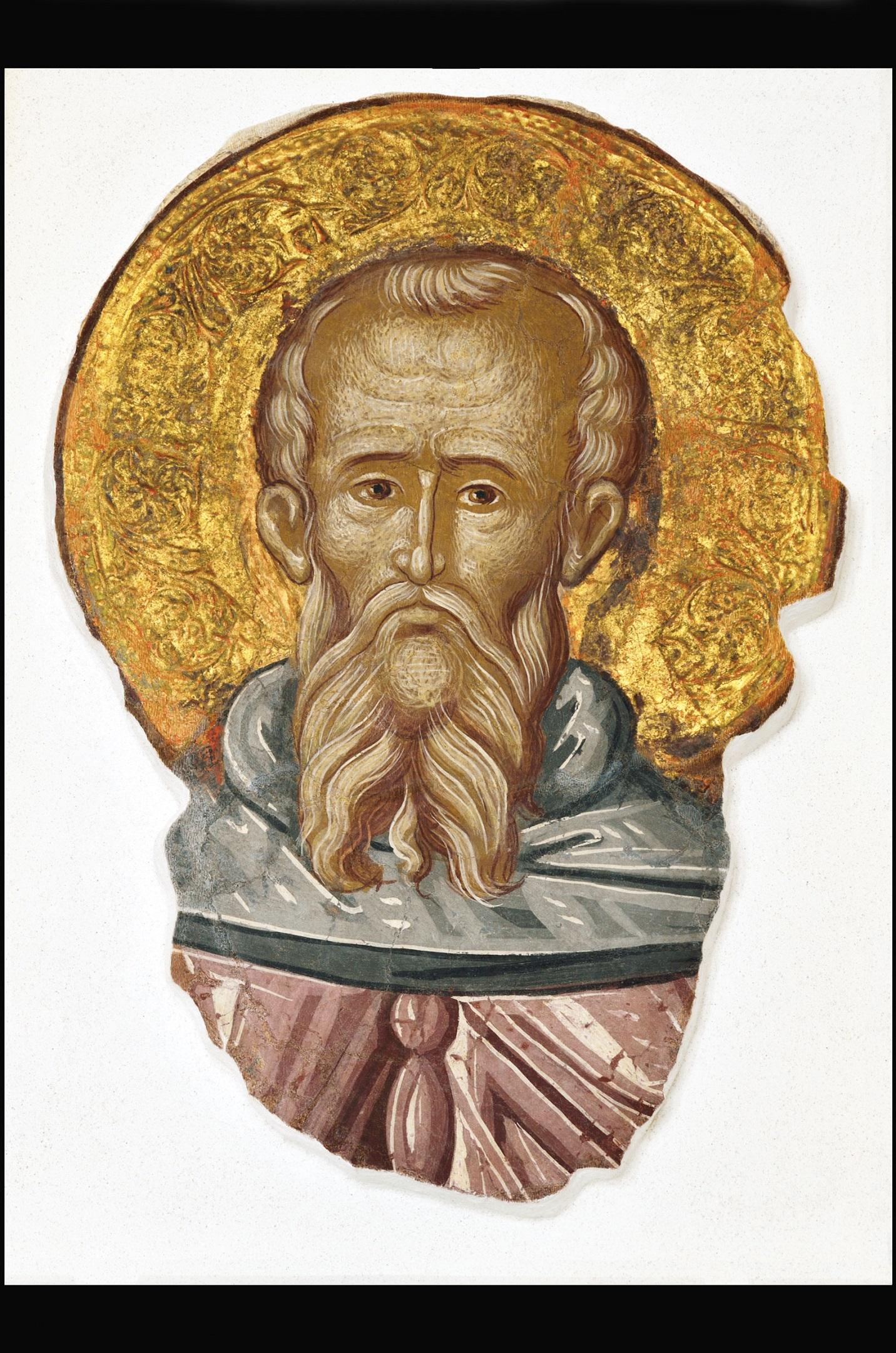 """""""Portret de Sfânt, cu aureolă în relief""""Fragment pictură murală extras de la Biserica Mănăstirii Trei Ierarhi din Iaşi (1641 – 1642)"""