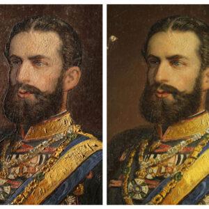 Detaliu în lumina directă și laterală, montarea portretului pe suportul de hârtie.