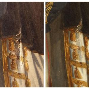 Detaliu înainte și după consolidarea rupturilor hârtiei.