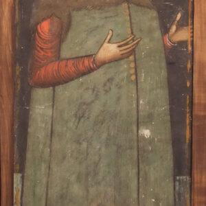 Fragmentul de pictură înaintea intervențiilor de restaurare.