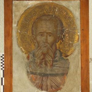 Fragment pictură murală, Sfânt cu aureolă în relief (față).